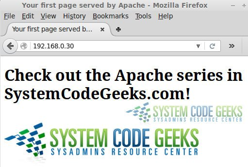 Figure 4: install Apache web server- Your first web page served by Apache