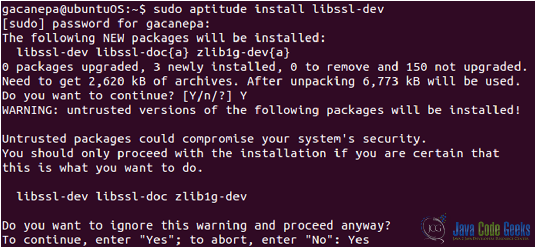 Figure 3: Nginx SSL configuration guide: Installing the libssl-dev package, which provides the OpenSSL library