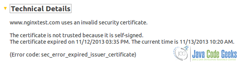 Figure 19: Nginx SSL configuration guide:  The SSL certificate expired