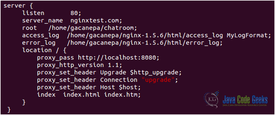 Figure 7: Nginx Websockets proxying guide: The main configuration file, nginx.conf