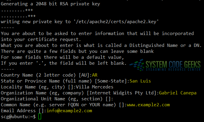 Figure 1: Apache enable SSL / TLS Tutorial: Creating a self-signed certificate and key file