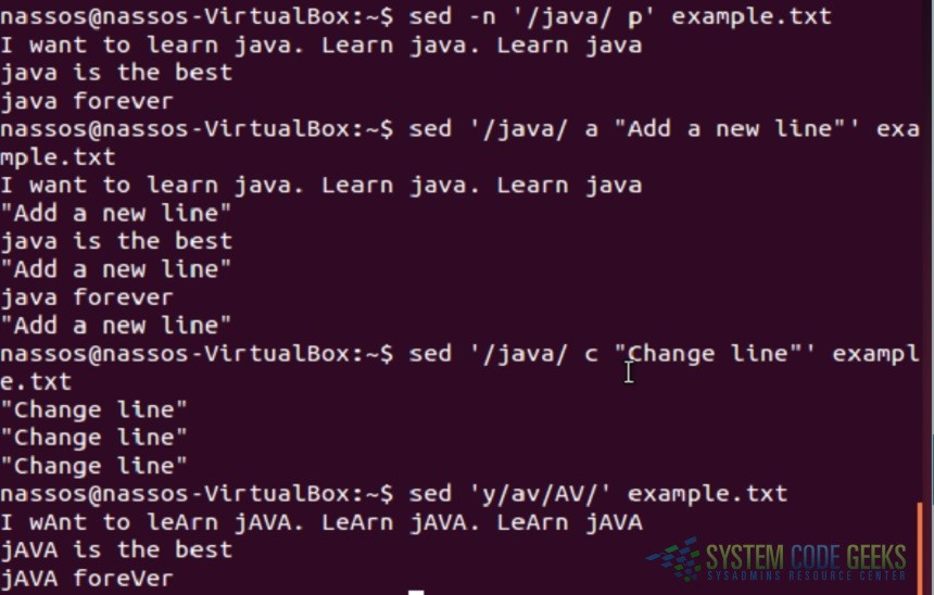 Linux sed Examples: Sed Examples 16-20