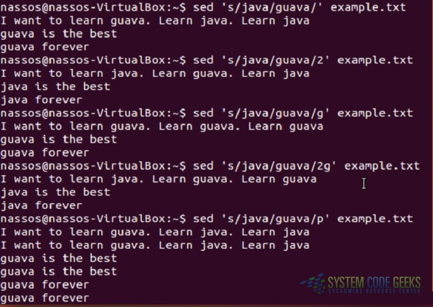 Linux sed Examples: Sed Examples 1-5