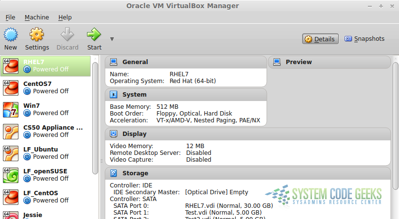Figure 1: Virtualization with VirtualBox: VirtualBox administration screen