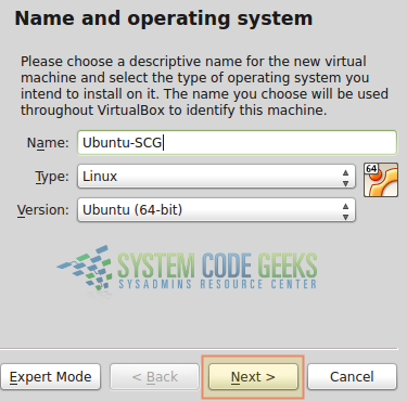 Figure 3: Virtualization with VirtualBox: Choosing the type of our virtual machine