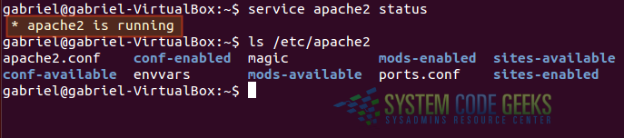 Figure 4: Checking the status of Apache and configuration files after installation