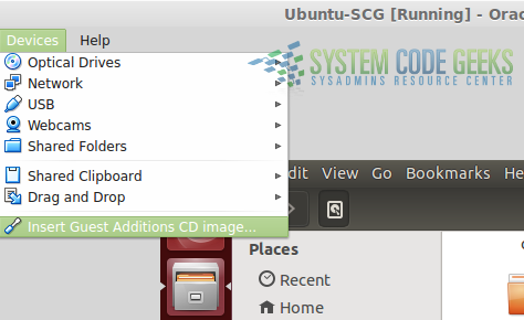 Figure 7:Virtualization with VirtualBox:  Using the virtual CD to install the guest additions