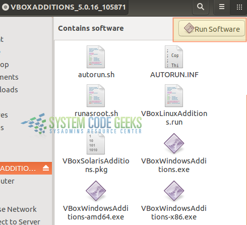 Figure 8:Virtualization with VirtualBox:  Running the guest additions installation program
