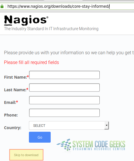 Figure 1: Downloading the Free DIY version of Nagios Core
