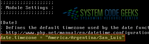 Figure 3: Setting the timezone in the php.ini file for Centreon