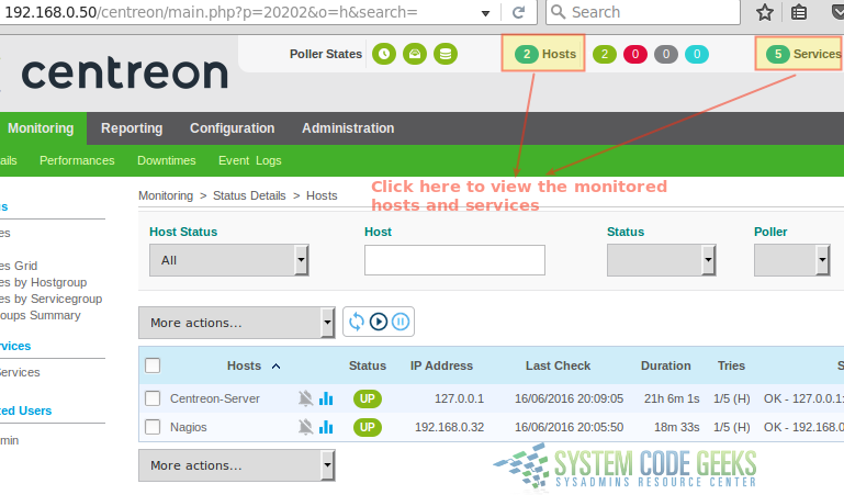Figure 5: Viewing the status of monitored hosts and services in Centreon