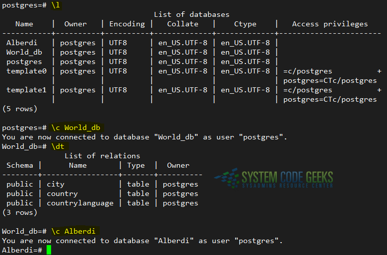 Listing databases and tables