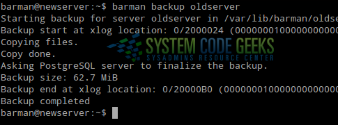 Creating our first backup with barman
